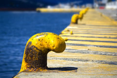 Bollards at the dock Stock Photos