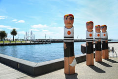 Bollards in Geelong, Australia royalty free stock photo