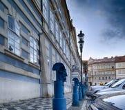 Bollards in Malostranske namesti in Prague Stock Image