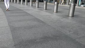 Bollards in New York City. Protective bollards outside a skyscraper in New York City stock video