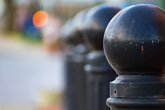 Bollards with round tops in a park -Asheville, North Carolina Stock Image