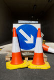 Bollards and sign. Royalty Free Stock Photography