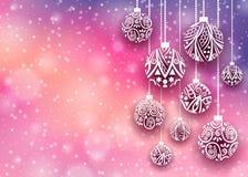 Bollbakgrund för glad jul Arkivfoto