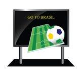 Bollboard mit Mitteilung des Fußballs Lizenzfreie Stockbilder