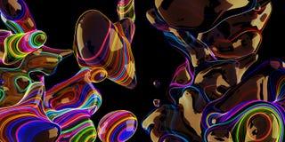 Bolle al neon astratte, lampada della lava su fondo nero Fotografia Stock