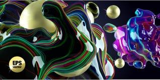 Bolle al neon e sfere dorate su un fondo nero Immagine Stock Libera da Diritti