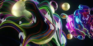 Bolle al neon e sfere dorate su un fondo nero Fotografia Stock Libera da Diritti