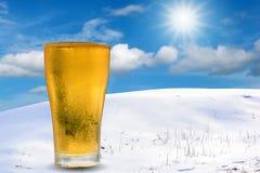 Bolle bianche dorate della birra Fotografia Stock Libera da Diritti
