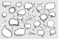 Bolle in bianco di discorso Insieme dei fumetti comici con le ombre Illustrazione di vettore Fotografie Stock