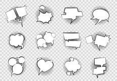 Bolle comiche di discorso Disegno di dialogo di arte della spruzzata dell'asta del pallone di chiacchierata del fumetto retro del illustrazione vettoriale