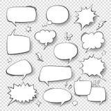 Bolle di discorso Bolle d'annata di parola, retro forme comiche piene di bolle Nuvole di pensiero con l'insieme di semitono di ve illustrazione vettoriale