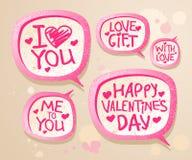 Bolle di discorso di giorno del `s del biglietto di S. Valentino. Fotografia Stock