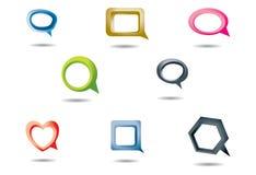 Bolle di discorso in vari figure e colori illustrazione di stock