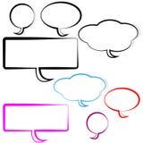 Bolle di pensiero e di discorso su fondo bianco Fotografia Stock