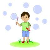 Bolle di salto del ragazzo sveglio Illustrazione disegnata a mano Fotografie Stock Libere da Diritti