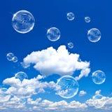 Bolle di sapone su cielo blu Fotografia Stock Libera da Diritti