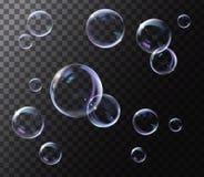 Bolle di sapone trasparenti realistiche con la riflessione dell'arcobaleno illustrazione di stock