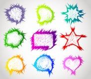 Bolle disegnate a mano di discorso di colore illustrazione vettoriale