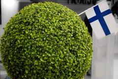 Bollen av mossa och den Finland flaggan Royaltyfri Bild