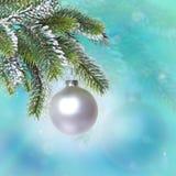 bollen branches den jul räknade snowtreen Royaltyfri Fotografi