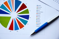 bollen charts förlagepennan Royaltyfri Fotografi