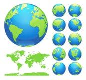 Bollen die aarde met alle continenten tonen De digitale vector van de wereldbol De gestippelde vector van de wereldkaart stock illustratie