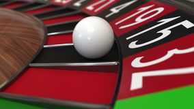 Bollen för kasinorouletthjulet slår svart 15 femton framförande 3d Fotografering för Bildbyråer