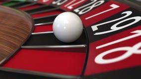 Bollen för kasinorouletthjulet slår 29 tjugonio svart framförande 3d Fotografering för Bildbyråer