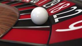 Bollen för kasinorouletthjulet slår 22 tjugotvå svart framförande 3d Royaltyfri Bild