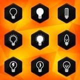 Bollen. Hexagonale die pictogrammen op abstracte sinaasappel terug worden geplaatst Stock Foto's