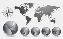 Bollen met wereldkaart stock illustratie
