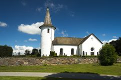 Bollerup Church in skane sweden. The white stone church at bollerup in the Skane region of Sweden Royalty Free Stock Photos