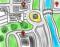 Bollettini di consegna del ristorante della mappa online che prenotano l'illustrazione di servizi Fotografia Stock