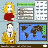 Bollettino meteorologico messo con le icone Fotografia Stock Libera da Diritti