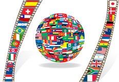 bollfilmstrip flags national Arkivfoto