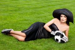 bollfotbollkvinna Fotografering för Bildbyråer