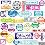 Bolli colorati gomma con i messaggi di vendita royalty illustrazione gratis