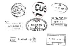 Bolli del passaporto di lerciume Fotografie Stock Libere da Diritti