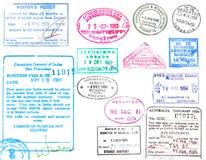 Bolli del passaporto e di visto Fotografie Stock Libere da Diritti
