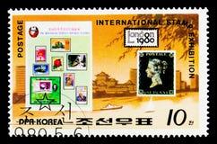 Bolli della Gran Bretagna 1 e del Coreano, bollo internazionale Exhibitio Fotografie Stock Libere da Diritti