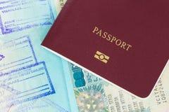 Bolli di immigation di visto e del passaporto immagine stock libera da diritti
