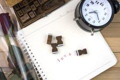 Bolli di lettera di amore per il giorno di S. Valentino Fotografie Stock