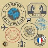 Bolli di viaggio o insieme di simboli, tema della Francia illustrazione di stock