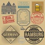Bolli di viaggio o insieme di simboli, tema della Germania illustrazione vettoriale