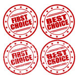 Bolli rotondi con testo: Prima scelta e migliori scelta, normale e lerciume Fotografia Stock