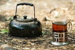 Bollitore con la tazza Fotografia Stock