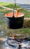 Bollitore del ferro sopra fuoco aperto Fotografia Stock