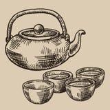 Bollitore e ciotole di tè giapponese incisi Tazze asiatiche per tè nello stile di schizzo Illustrazione di vettore Fotografia Stock