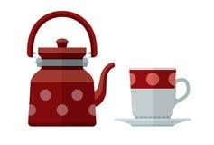 Bollitore e tazza per il piattino piano del tè Fotografia Stock