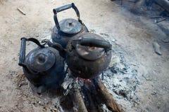 Bollitore sul fuoco Fotografie Stock Libere da Diritti